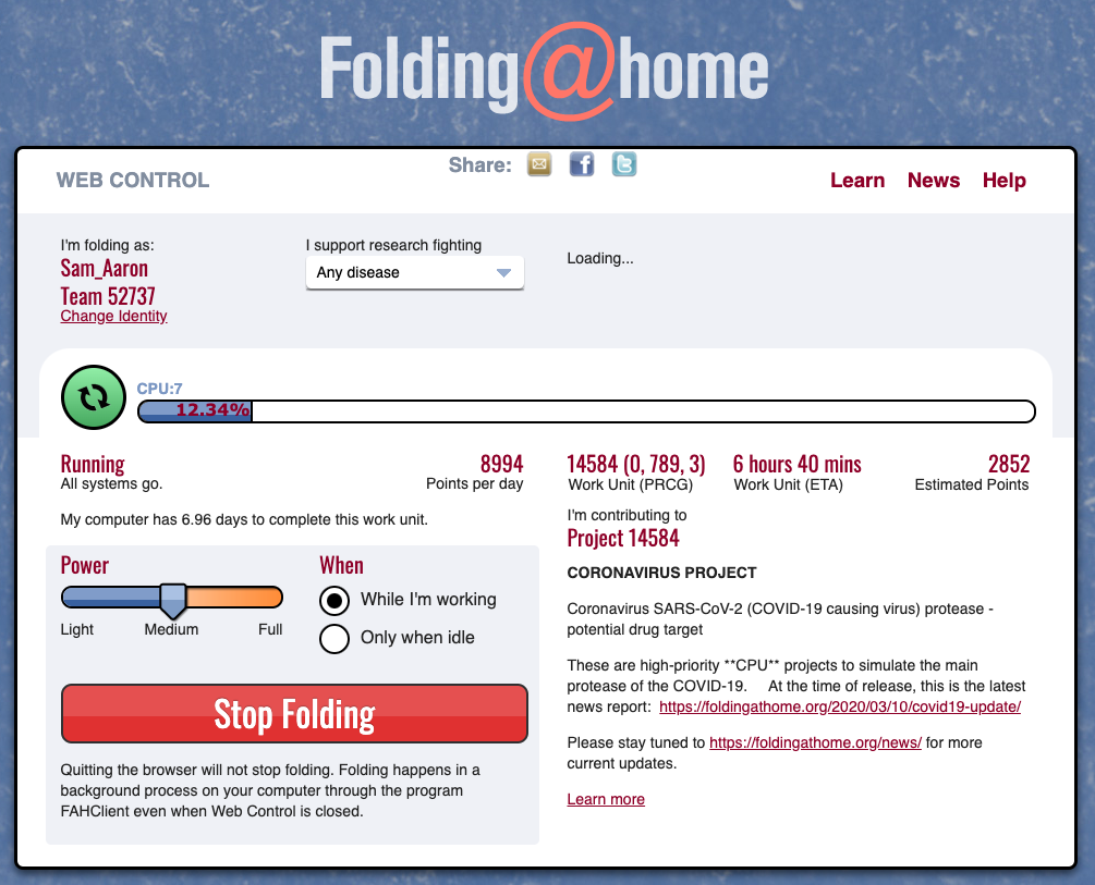 F@H Web Interface